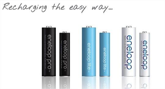 Eneloop oppladbare NI-MH batterier Batteri typer:   Panasonic Eneloop Pro BK-3HCCE 1.2 v 2450 mAh (HR6) x 8 stk (Høy kapasitet: 2450 mha. Batteriet kan lades opp 500 ganger. Beholder 85% av batterikapasiteten…