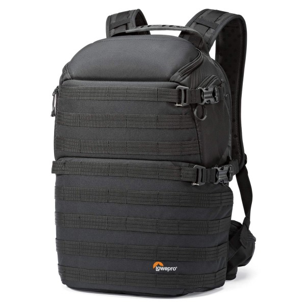 A professional camera backpack that delivers mission-critical access for two cameras and features multiple accessory attachment points.